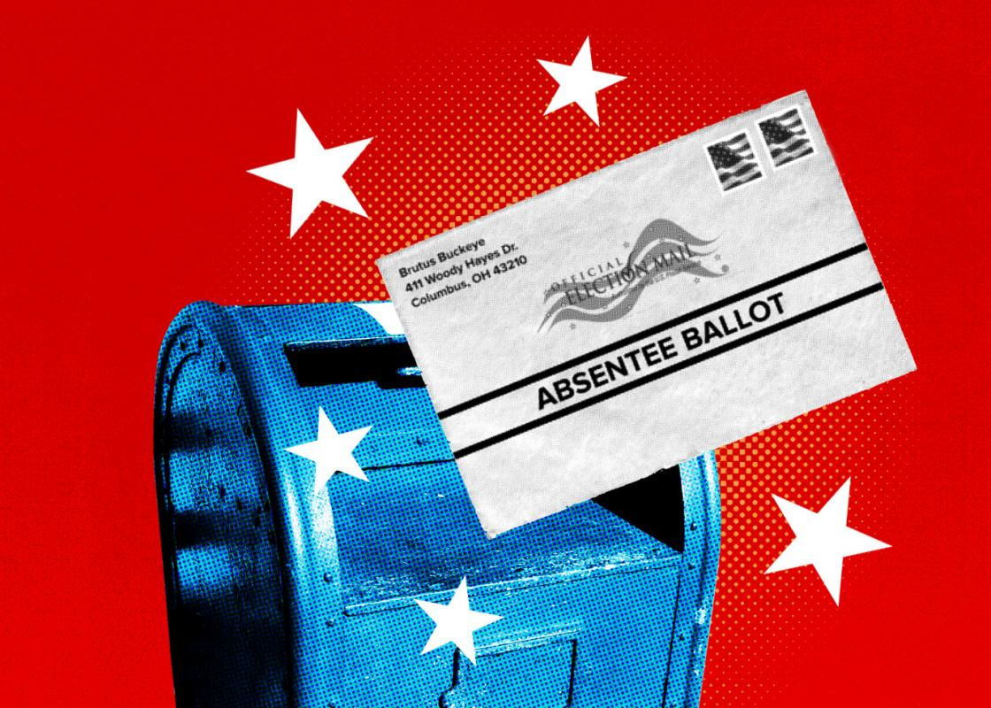 Illustration of an absentee ballot going into a mailbox