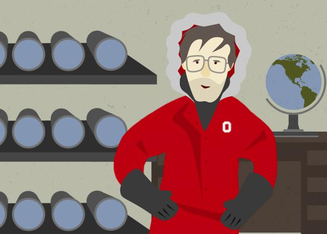 Illustration of researcher Lonnie Thompson in ice core lab