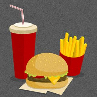 Fast food cheeseburger, drink, and fries