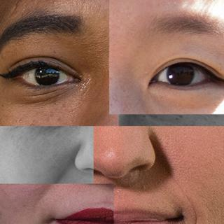 Collage of four people of different races/colors forming one complete face
