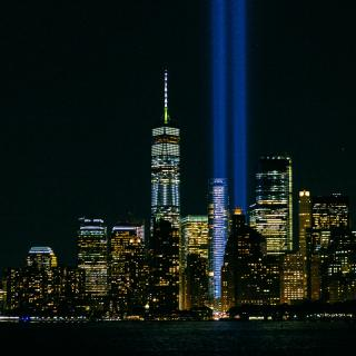 Lights from world Trade center Memorials, 9/11 cause and consequences, © 2019 The Ohio State University