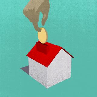 Illustration of hand putting coin into house