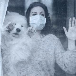 Woman with mask and dog look out window.