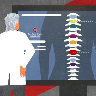Stylized illustration of Dr. Marras studying large, wall monitor with spinal X-ray. © 2020 The Ohio State University.