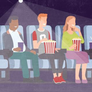 Illustration of three happy people enjoying the movie theater