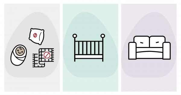 Icon illustrations of baby, crib, frowning couch, blanket no-on, pillow no-no