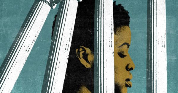 Illustration of woman of color imprisoned by white pillars which are falling