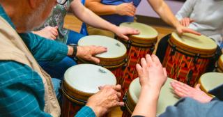 Drum circle, drumming, rhythm therapy can help brain injuries. © 2019 | The Ohio State University
