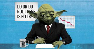 Illustration of Yoda as a businessman