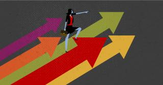 Abstract illustration of a business woman standing on chart flow arrows going upward for success. © 2020 The Ohio State University.