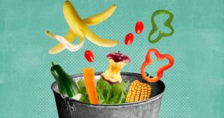 Illustration of food waste falling into a bucket