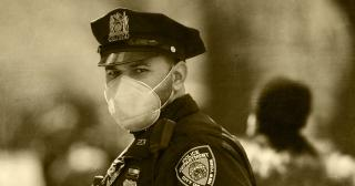 Image of police officer wearing a mask