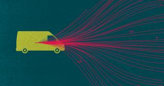 Illustration of a truck with multiple data points shooting out of it