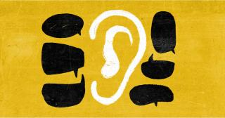 Illustration of black speech bubbles surrounding a white ear