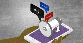 Stylized hand holding smart phone with illustration of. megaphone pronouncing Republicans, Democrats and BLM. © 2020 The Ohio State University.